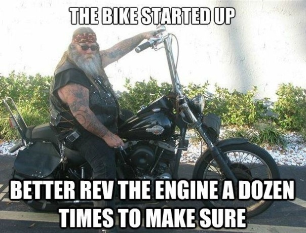 revving-motorcycle-loud thug biker with cigarette