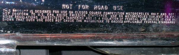 epa closed course label on muffler