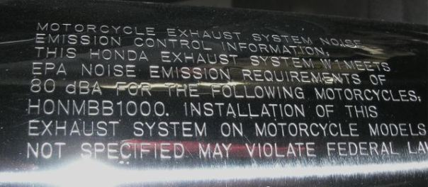 EPA muffler label