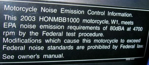 honda epa label on frame