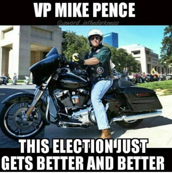 Pence on a Harley