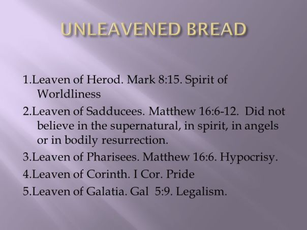 Jesus - leavened bread sin