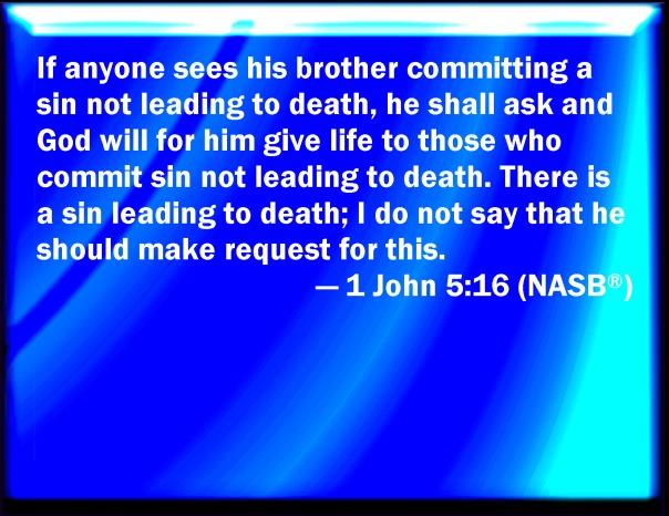 Jesus - sin unto death