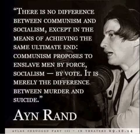 democrat - difference between socialism and communism by ayn rand