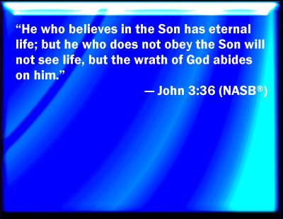 jesus - he who has the son has life but he that does not obey son shall not see life NASB