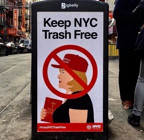 socialist - keep ny trash free trump supporter with bible x out