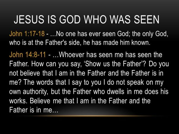 Jesus - he who has seen me has seen the father